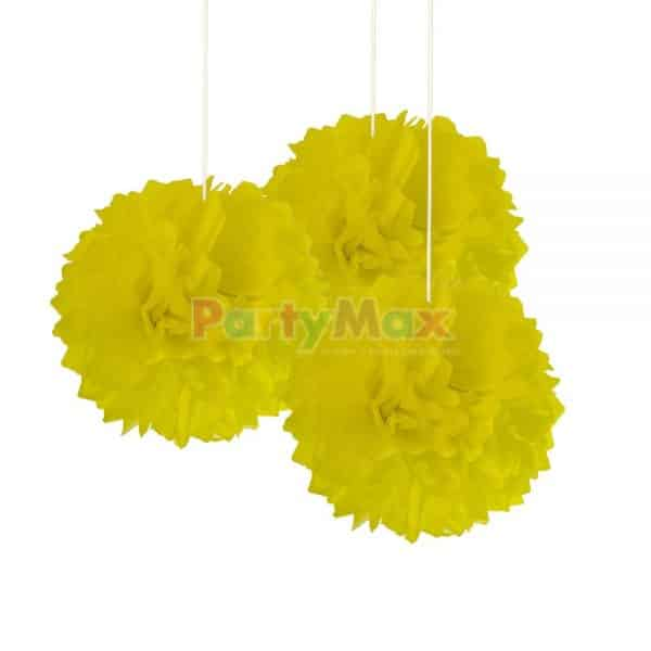 POMPOM DECORATIVO AMARILLO*3