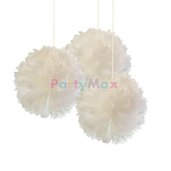 POMPOM DECORATIVO BLANCO*3