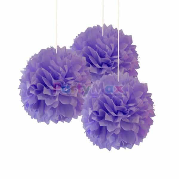 POMPOM DECORATIVO LILA*3