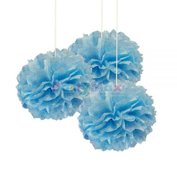POMPOM DECORATIVO BABY SHOWER NIÑO*3