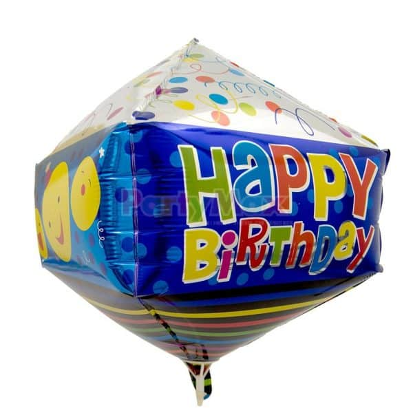 GLOBO METALIZADO 3D HAPPY BIRTHDAY CARITAS 65CMS